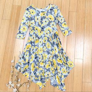 GYMBOREE gray yellow floral dress, L 10-12.